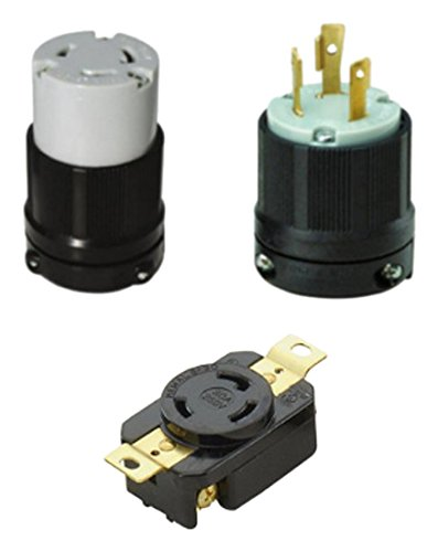 OCSParts L6-30PCR NEMA L6-30 Plug, Connector and Receptacle Set - Rated for 30 Amp, 250V, 3-Wire - CUL Listed (Pack of 3)