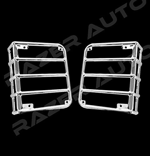 - Restyling Factory -Chrome Metal Euro Tail Light Taillight Lamp Guards Cover for 07-17 Jeep JK Wrangler