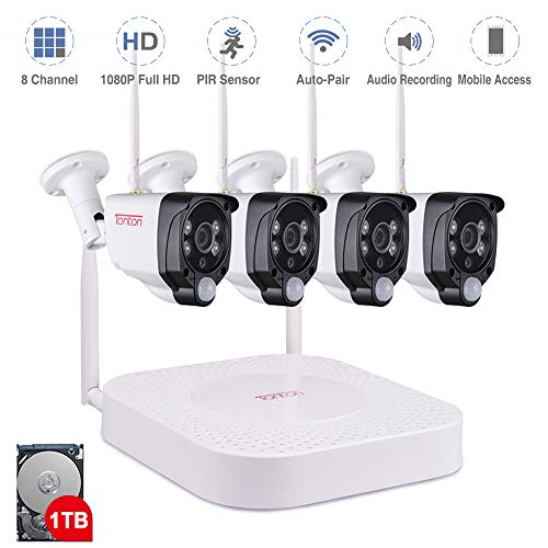 [Expandable System]1080P Wireless Security Camera System, Tonton 8CH NVR Surveillance System with 1TB HDD and 4PCS 2.0MP 1080P Waterproof Outdoor Indoor Bullet Cameras with PIR Sensor, Audio Recording