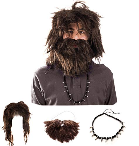 Tigerdoe Caveman Costume - (3 Pc Set) Wig and Beard Set - Costume Accessories - Caveman Beard and Wig Set Brown ()