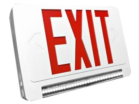 - Ciata Lighting LED Red Exit Sign & Emergency LED Lightpipe Combo with Battery Backup