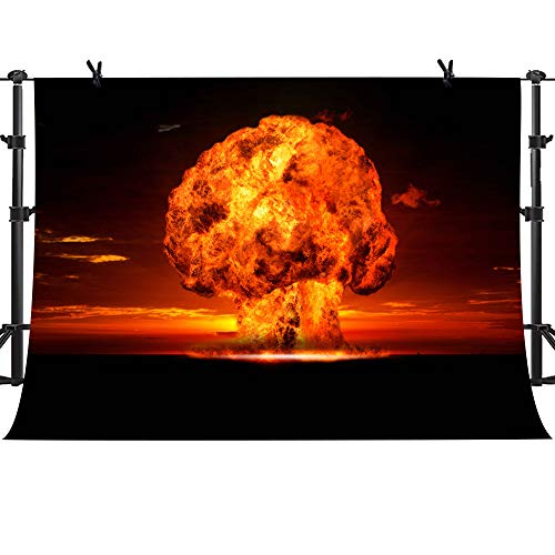 MME 10x7ft Atomic Bomb Mushroom Cloud Background YouTube Photography Background Prop Photo Booth Props ZYME0341