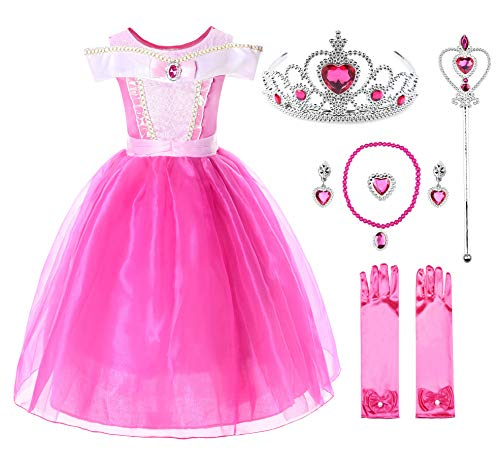 Beauty Pageant Halloween Costumes (JerrisApparel Girls Princess Aurora Costume Dress Pageants Party Fancy Dress (Ankle Length with Accessories,)
