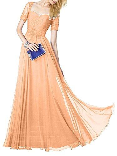 Abendkleider mia La Braut Kurzarm Lang Orange Hell mit Chiffon Brautmutterkleider Abschlussballkleider Abiballkleider Spitze xXxFS4qBdw