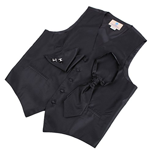 VS2003-S Black Solid Formal Wear Vests Cufflinks Hanky Ascot Tie By Y&G