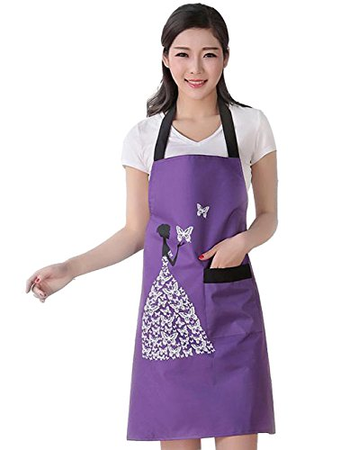 Moolecole Womens Kitchen Aprons Waterproof Bib Overalls Anti-Oil Stain Adult Sleeveless PVC Butterfly Pinafore Apron with One Pockets for Cooking Baking Purple