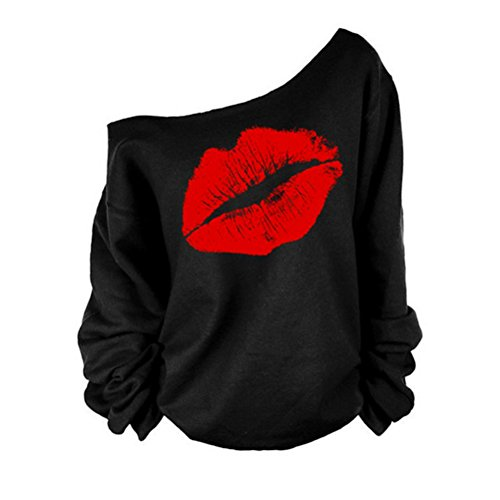 Star Fashion Casual Long Sleeve Red Lips Offset Tee Sweatshirt Plus Size (Embroidered Dot Capri Pant)