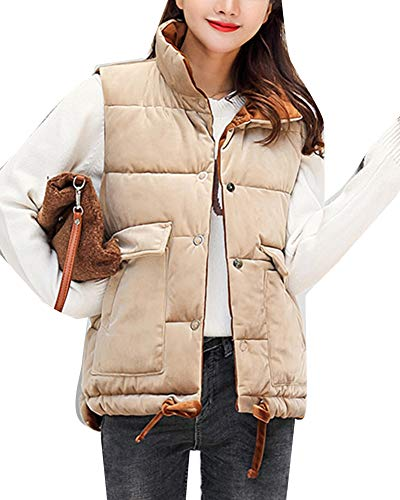 Brown to Ways Quilted Gilet Women Khaki 2 Jacket Thicker Wear Vest Sleeveless Coat Overcoat Down Warm qZP7wS