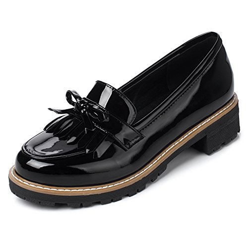Ifantasy Women's Penny Loafers Flat Low Heel Bow Tassel Patent Leather Slip On Shoes Black
