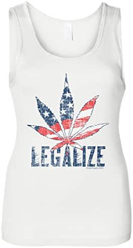 Cybertela Women's Legalize Weed, Cannabis USA Flag 420 Slim Fit Tank Top