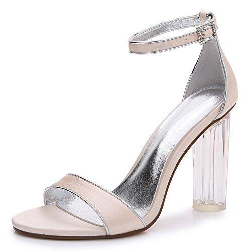 L@YC Damen-Hochzeitsschuhe Crystal S-2615-14 Grobe Plattform Heels & abend & Professional MaßGeschneiderte GroßE GrößE Schuhe Champagne