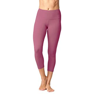 Yogalicious High Waist Ultra Soft Lightweight Capris - High Rise Yoga Pants - Rose Cultivar - XS