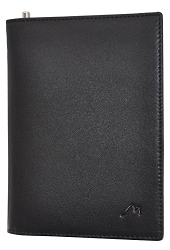Field Notes/Moleskine Pocket Notebook Cover by Metier Life | Canvas with Vegan Leather | Fits Journals 3.5 X 5.5 | with Included Metier Life Notebook and Metier Pen (Vegan Leather Black)
