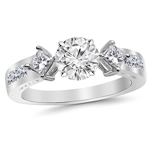 2.85 Carat 14K White Gold Channel Set 3 Three Stone Princess Diamond Engagement Ring with a 2 Carat Moissanite -