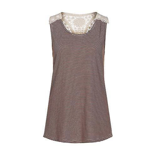 (Roysberry Women's T-Shirt,Vest Ladies Lace Panel Pinstriped Tank Top Camisole Khaki)