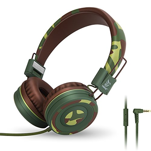 Yomuse C89 On Ear Foldable Headphones w/ Microphone, Adjustable Headband for Kids Adults, iPhone iPad iPod Computers Tablets SmartPhones DVD, Camo Green by Yomuse