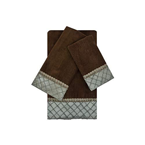 Sherry Kline Pleated Diamond Brown/Blue 3-Piece Embellished Towel Set ()