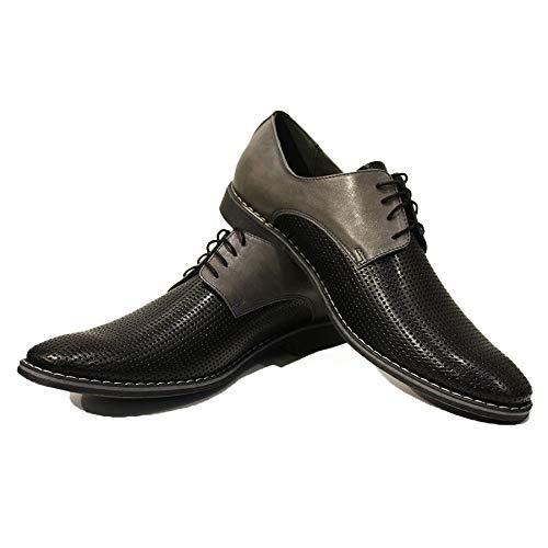 b270da11973fc Modello Gianni - 6 US - Handmade Italian Mens Black Oxfords Dress Shoes -  Cowhide Embossed