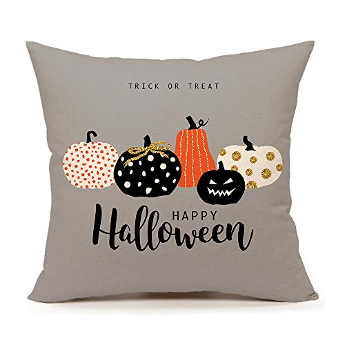 4TH Emotion Halloween Pumpkin Throw Pillow Cover Cushion Case for Sofa Couch 18