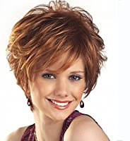 YAMEIJIA Wigs Women Lady Short Brown Color Synthetic Hair Wigs