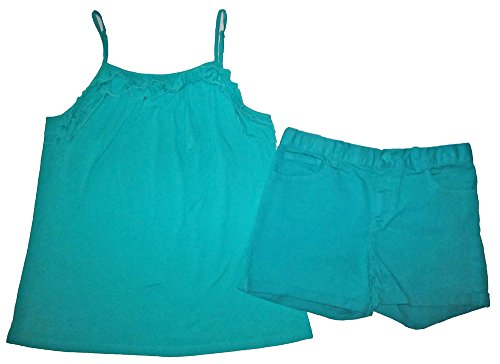 Gap Kids Girls Teal Green Ruffle Tank Top & Classic Denim Shorts 14