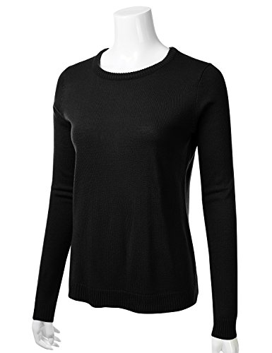 FLORIA Womens Crewneck Long Sleeve Soft Pullover Knit Sweater Top w/Ribbed Trim Black S by FLORIA (Image #1)
