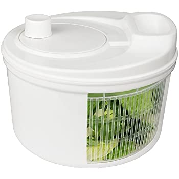 Greenco Easy Spin Manual Salad Spinner, 4 quart, White