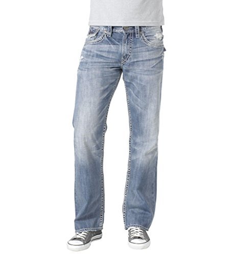 - Silver Jeans Men Zac Flap Relaxed Fit Straight Leg Light Distressed in Light Blue Wash
