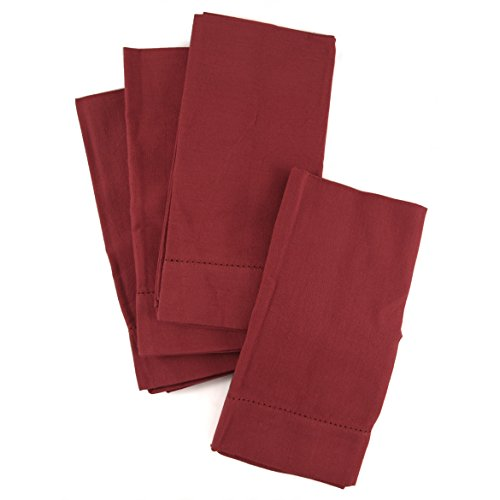 Town and Country Home Red Hemstitch 100% Cotton Dinner Napkins, Set of 6 by BigKitchen (Image #1)
