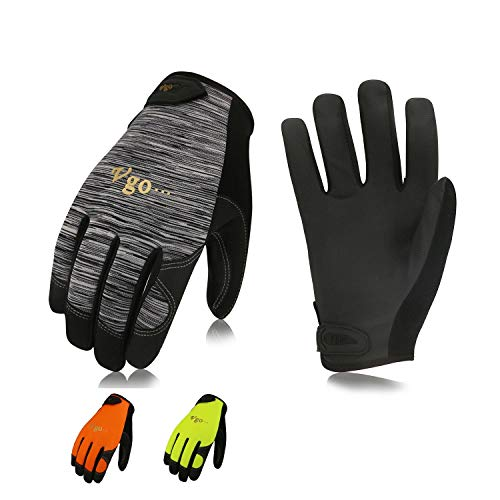 Vgo 3 Pairs High Dexterity Touchscreen PU Leather Work Gloves Multipurpose(Size L,3Colors,PU8718)