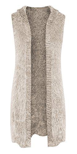 Womens Open Front Sleeveless Longline Cardigan Vest