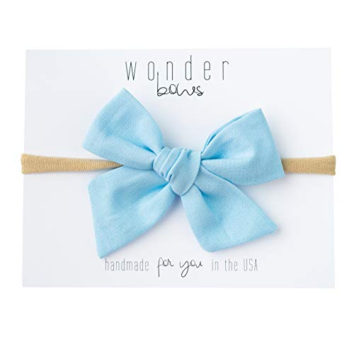 Handmade Infant Girl - Handmade Cotton Hair Bows For Baby Girls and Toddlers (One Size Fits All) (Sky Blue, Nylon)