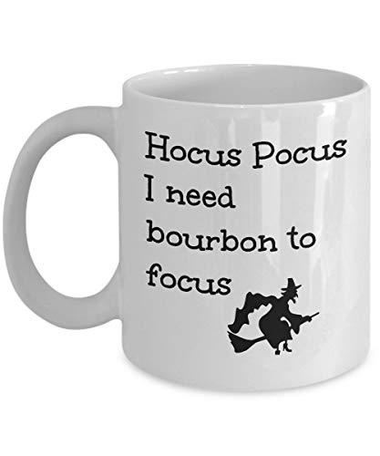 Funny Bourbon Lover Gift Mug Hocus Pocus I Need to Focus Cute Magic Halloween Witch Themed Coffee Cup Gag Joke for Men Women (Set Hocus Pocus Magic)