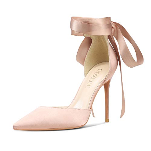 Satin 4 Inch Stiletto Heels - GOXEOU Satin Strappy Pumps D'Orsay Pointed Closed Toe Lace Up High Heels Dress Party Wedding Bridal Stiletto Shoes for Women - 4inch