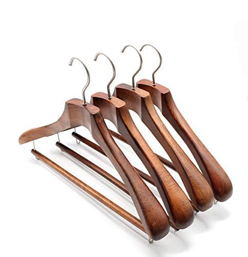 木製 44.5 cm 質のコートの衣服のスーツのハンガーおよびより強く & 厚い滑り止めバーのズボンバー-4 パックの高級な終わり,A,44.5*30*4.5cm B07Q82HMR2 A 44.5*30*4.5cm