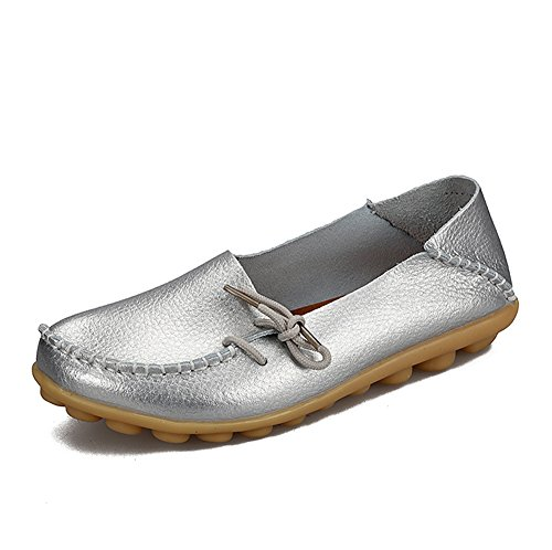 SUNROLAN Womens Leather Cowhide Casual Lace-up Slipper Slip-on Loafers Flat Driving Shoes Silver