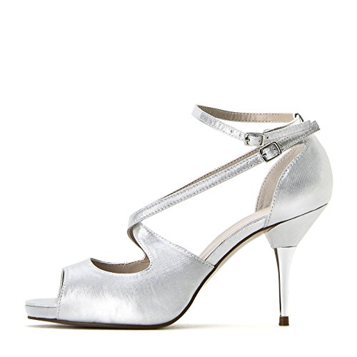 ALESYA by Scarpe&Scarpe - Sandalias altas con mini correas cruzadas Argento