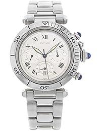 Pasha De Cartier Chrono 38mm Silver Dial Steel Quartz Unisex Watch W31018H3 (Certified Pre-Owned)