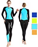 COPOZZ Diving Skin, Men Women Youth Thin Wetsuit Rash Guard- Full Body UV Protection - for Diving Snorkeling Surfing Spearfishing Sport Skin (Black/Blue, Medium for Women)