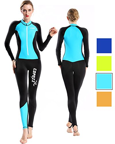 COPOZZ Diving Skin, Men Women Youth Thin Wetsuit Rash Guard- Full Body UV Protection - for Diving Snorkeling Surfing Spearfishing Sport Skin (Black/Blue, Small for Women)