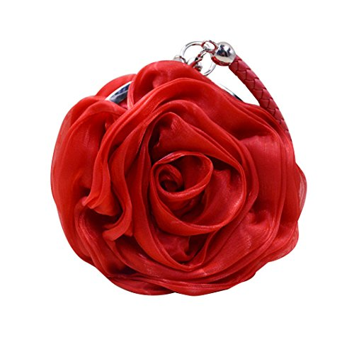 Mily Womens Satin Evening Bag Flower Shaped Wristlet Red