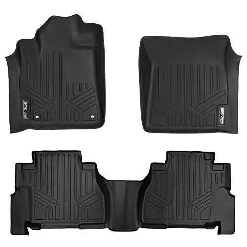 (MAX LINER A0108/B0272 Custom Fit Floor Mats 2 Liner Set Black for 2012-2019 Toyota Sequoia with 2nd Row Bench Seat )