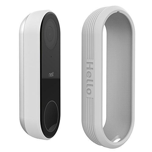Protective Silicone Covers Colorful Skins for Nest Hello Doorbell, UV Light and Weather Resistant by AhaStyle (Gray)
