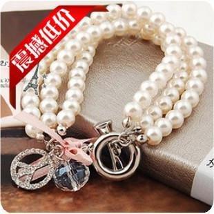 - S081 famous jewelry Korean peace sign diamond crystal ball full three-pearl bracelet / bracelet