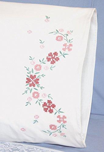 Fairway Needlecraft 83289 83216 Cross Stitch Perle Edge Pillowcases, Small Floral Design, Standard, White - Floral Stamped Cross Stitch
