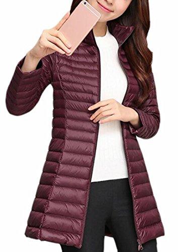 Down Puffer Coat Outdoor Jacket Stand UK Packable today Red Wine Collar Women's q8UawZ6