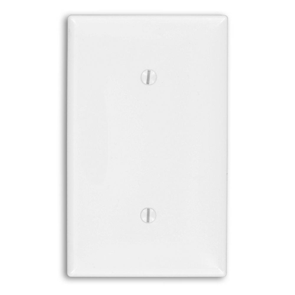 Leviton 80719-W 1-Gang No Device Blank Wallplate White Strap mount Standard Size