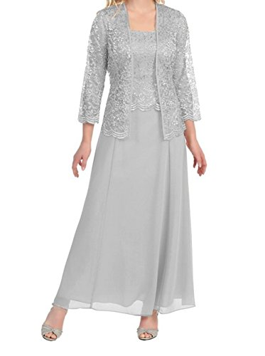 Womens Long Mother of the Bride Plus Size Formal Lace Dress with Jacket (X-Large, Silver)