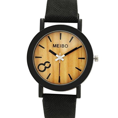Perman Neutral Simple Fashion Leather Quartz Wrist Watch   Black