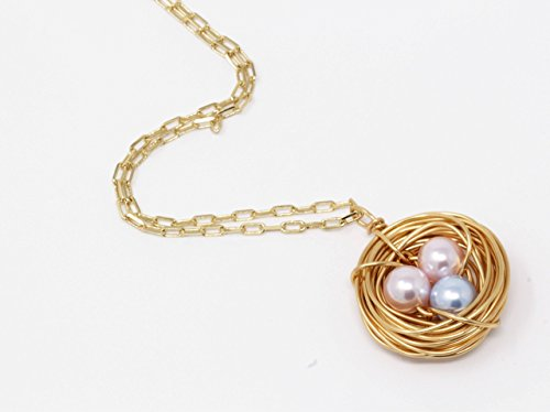 Bird Nest Necklace 2 Pink Eggs and 1 Blue Egg (Nest Bird Necklace)